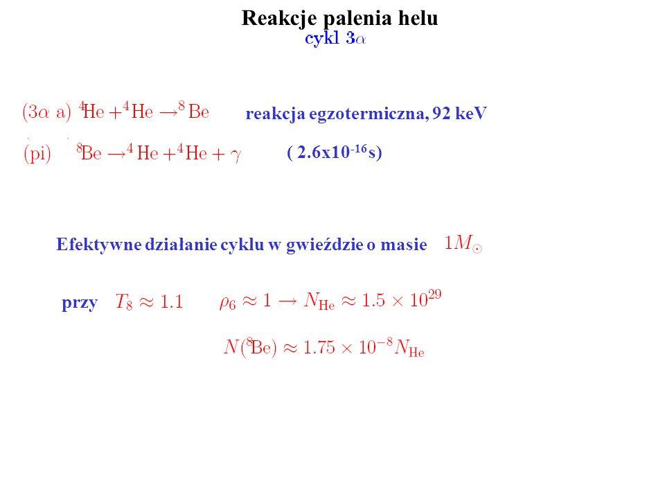 Reakcje palenia helu reakcja egzotermiczna, 92 keV ( 2.6x10-16 s)