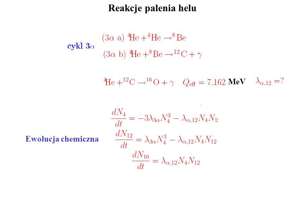 Reakcje palenia helu MeV Ewolucja chemiczna