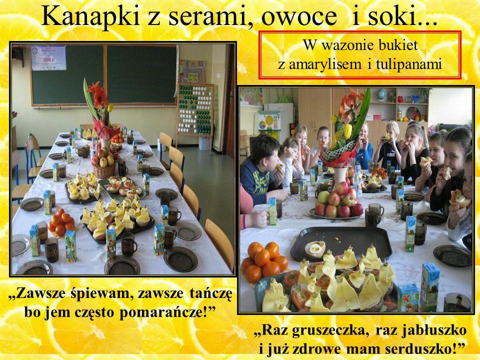 Kanapki z serami, owoce i soki...