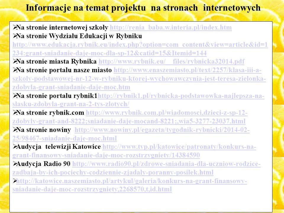 Informacje na temat projektu na stronach internetowych