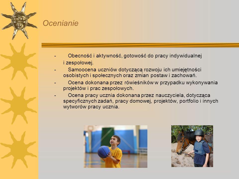 Ocenianie - Obecność i aktywność, gotowość do pracy indywidualnej