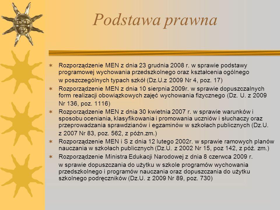 Podstawa prawnaRozporządzenie MEN z dnia 23 grudnia 2008 r. w sprawie podstawy programowej wychowania przedszkolnego oraz kształcenia ogólnego.
