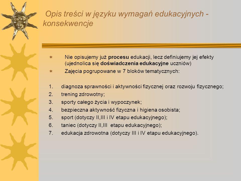 Opis treści w języku wymagań edukacyjnych - konsekwencje
