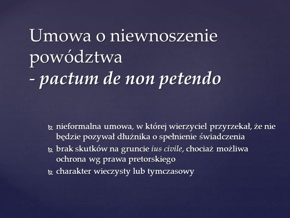 Umowa o niewnoszenie powództwa - pactum de non petendo