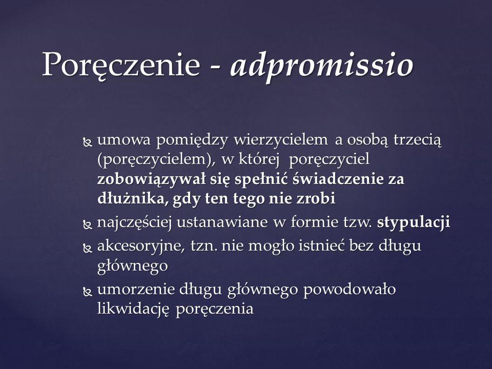 Poręczenie - adpromissio