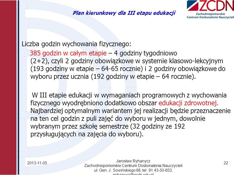 Plan kierunkowy dla III etapu edukacji