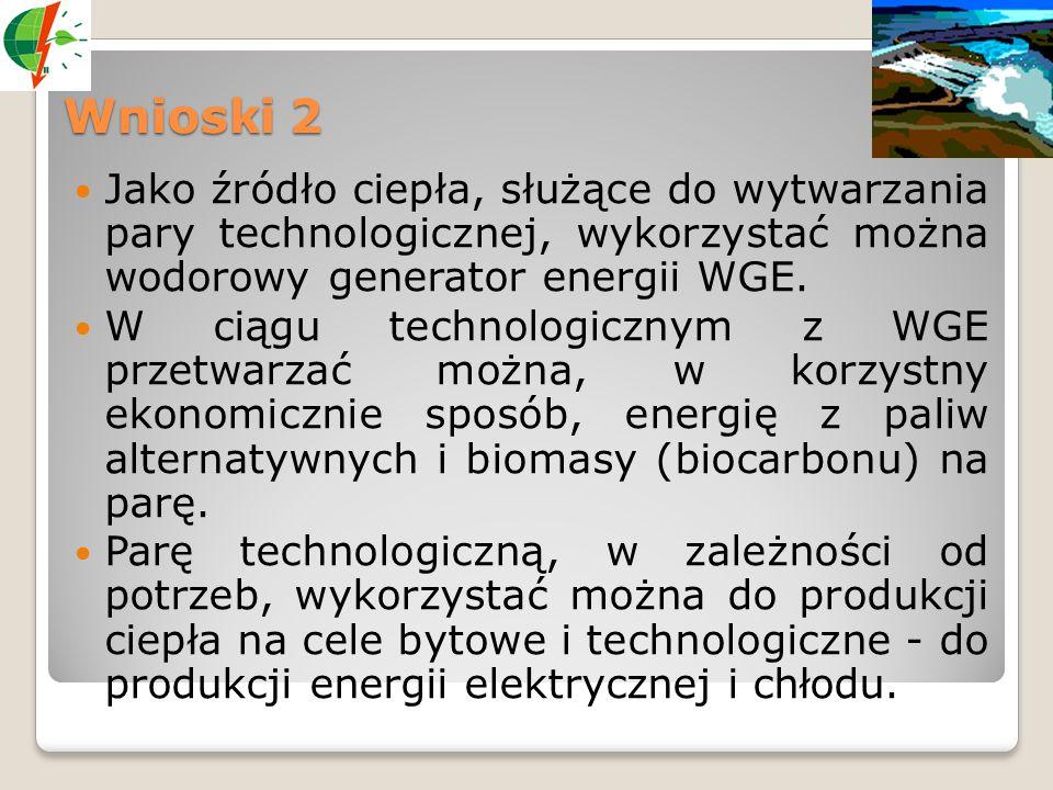 Wnioski 2 Jako źródło ciepła, służące do wytwarzania pary technologicznej, wykorzystać można wodorowy generator energii WGE.