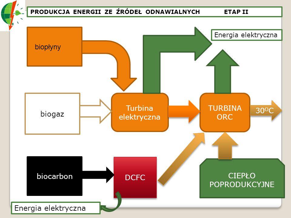 biopłyny biogaz Turbina elektryczna TURBINA ORC 30OC biocarbon DCFC