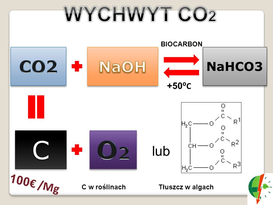 C O2 WYCHWYT CO2 CO2 NaOH lub NaHCO3 100€ /Mg +50⁰C BIOCARBON