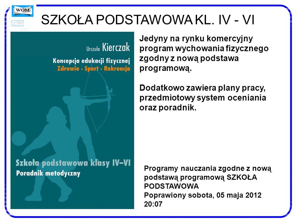 SZKOŁA PODSTAWOWA KL. IV - VI