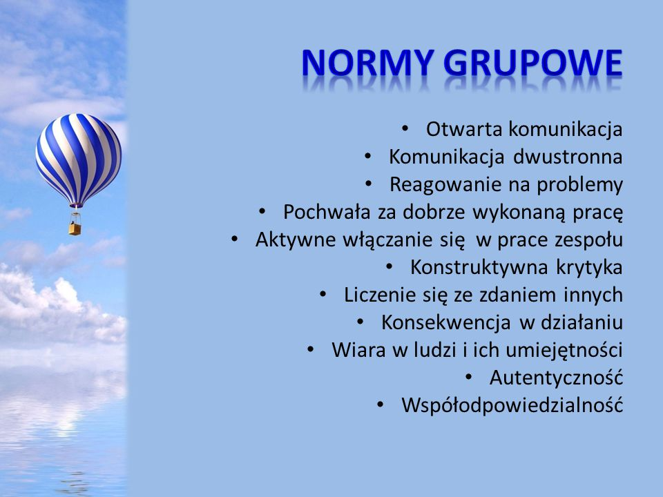 NORMY GRUPOWE Otwarta komunikacja Komunikacja dwustronna