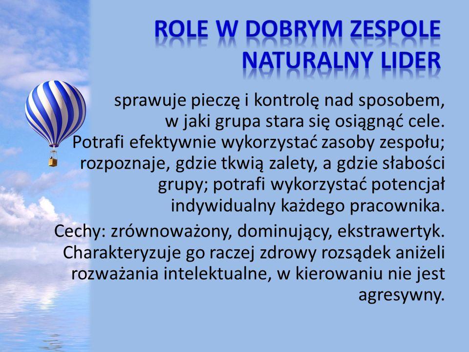 Role w dobrym zespole Naturalny lider