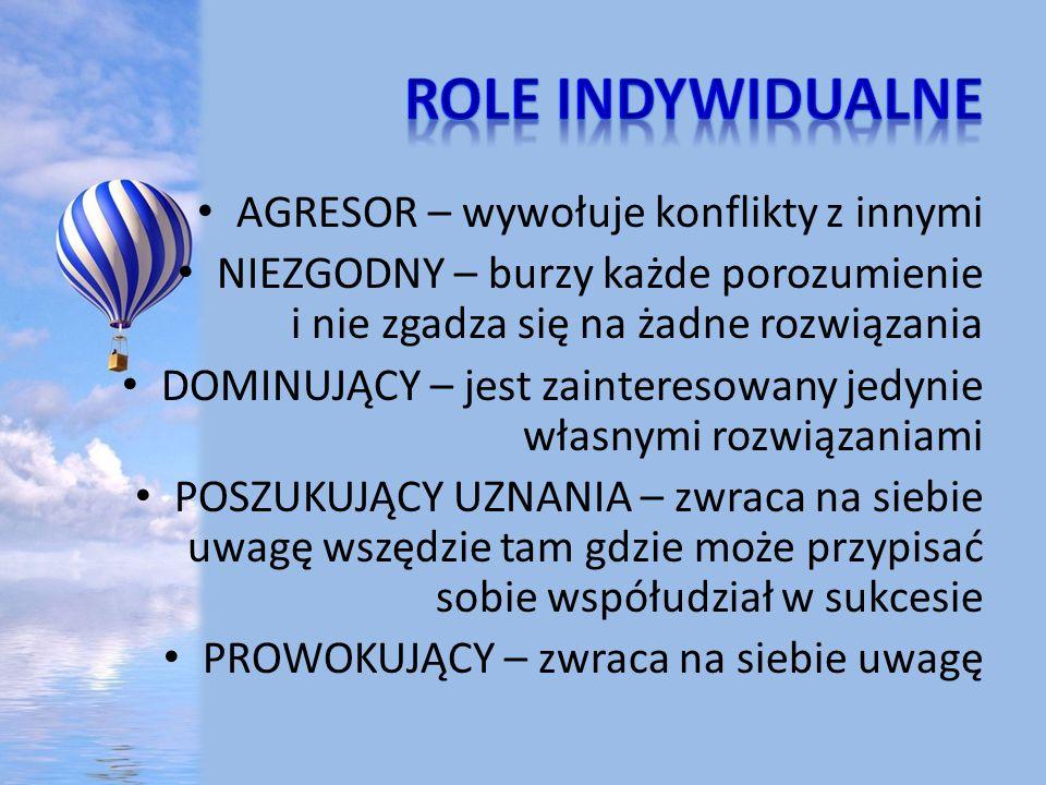 Role indywidualne AGRESOR – wywołuje konflikty z innymi