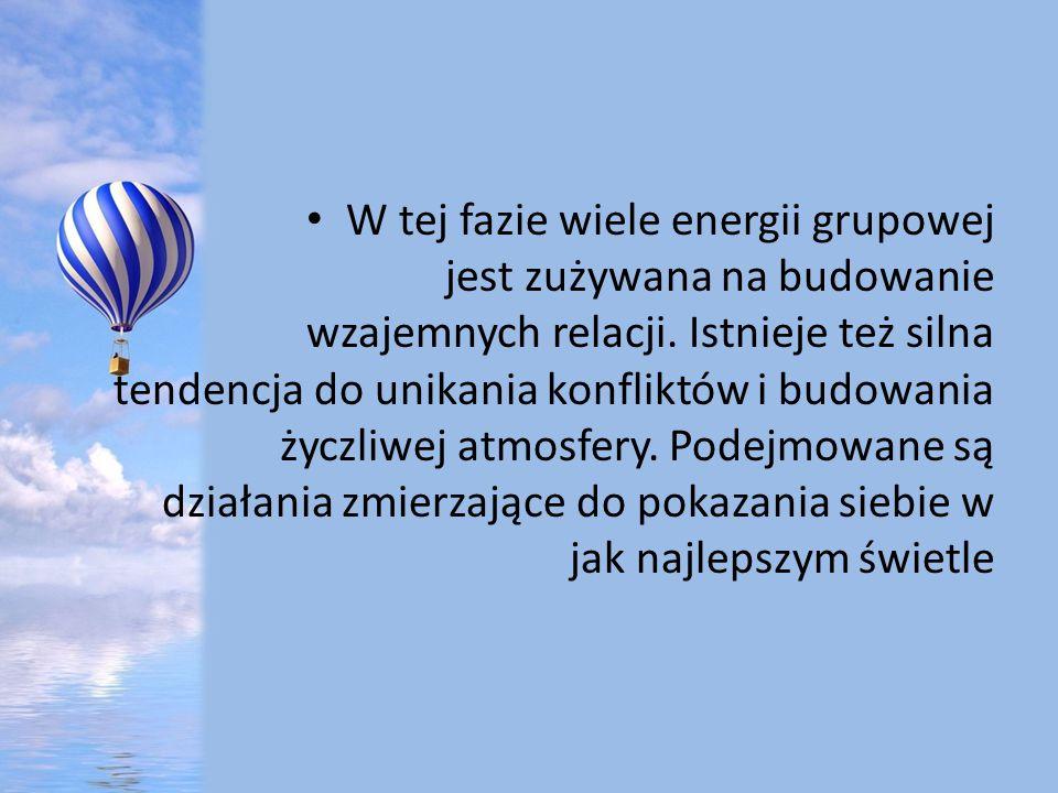 W tej fazie wiele energii grupowej jest zużywana na budowanie wzajemnych relacji.