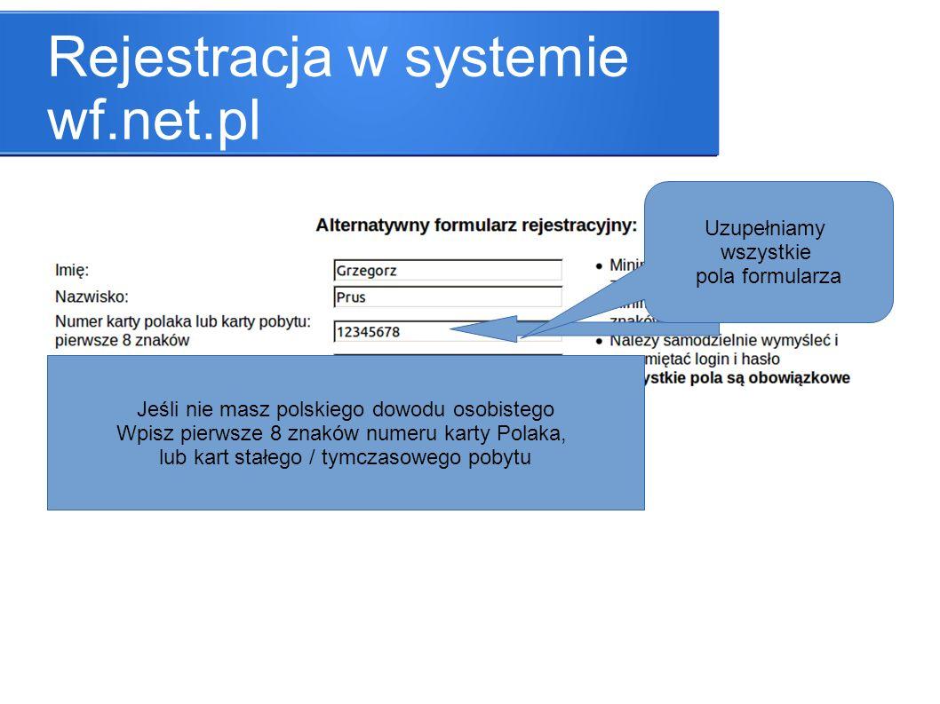 Rejestracja w systemie wf.net.pl