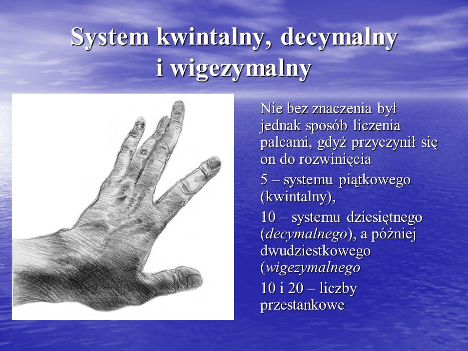 System kwintalny, decymalny i wigezymalny