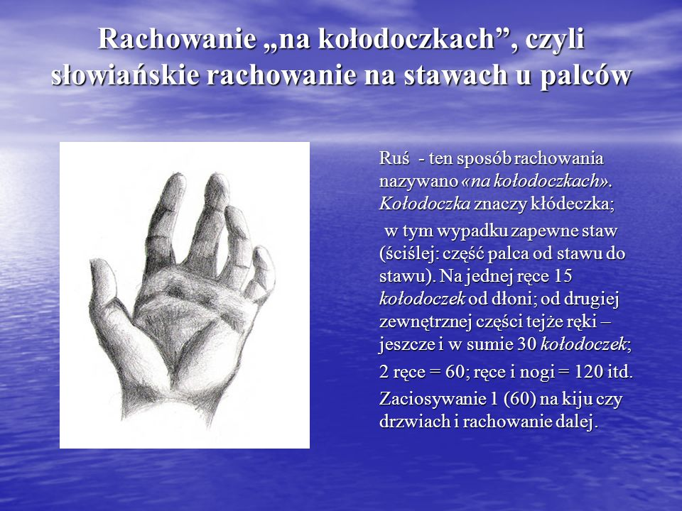 """Rachowanie """"na kołodoczkach , czyli słowiańskie rachowanie na stawach u palców"""