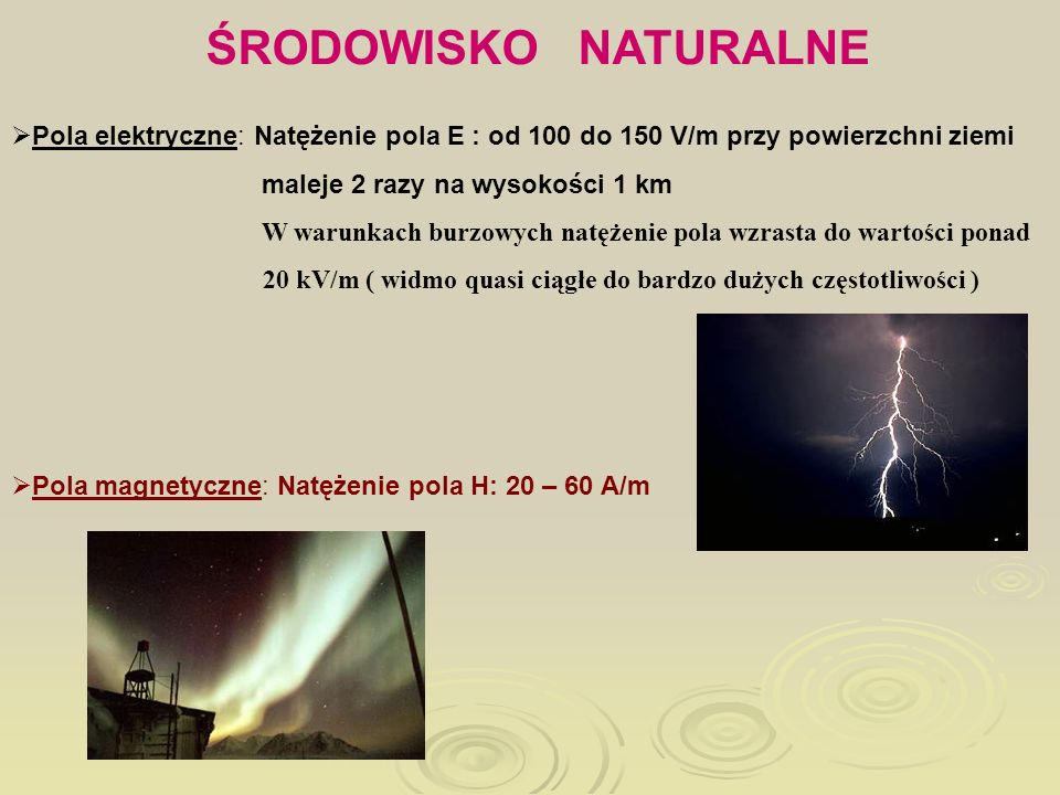 ŚRODOWISKO NATURALNEPola elektryczne: Natężenie pola E : od 100 do 150 V/m przy powierzchni ziemi.