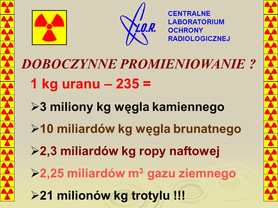 DOBOCZYNNE PROMIENIOWANIE 1 kg uranu – 235 =