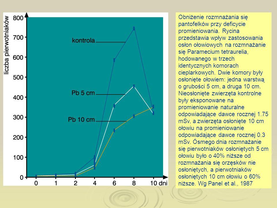 Obniżenie rozmnażania się pantofelków przy deficycie promieniowania