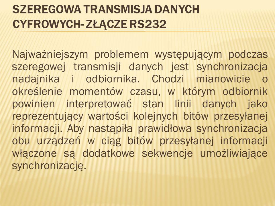 Szeregowa transmisja danych cyfrowych- złącze RS232