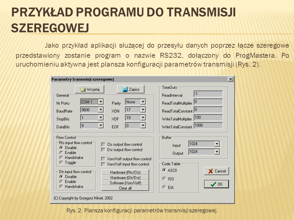 Przykład programu do transmisji szeregowej