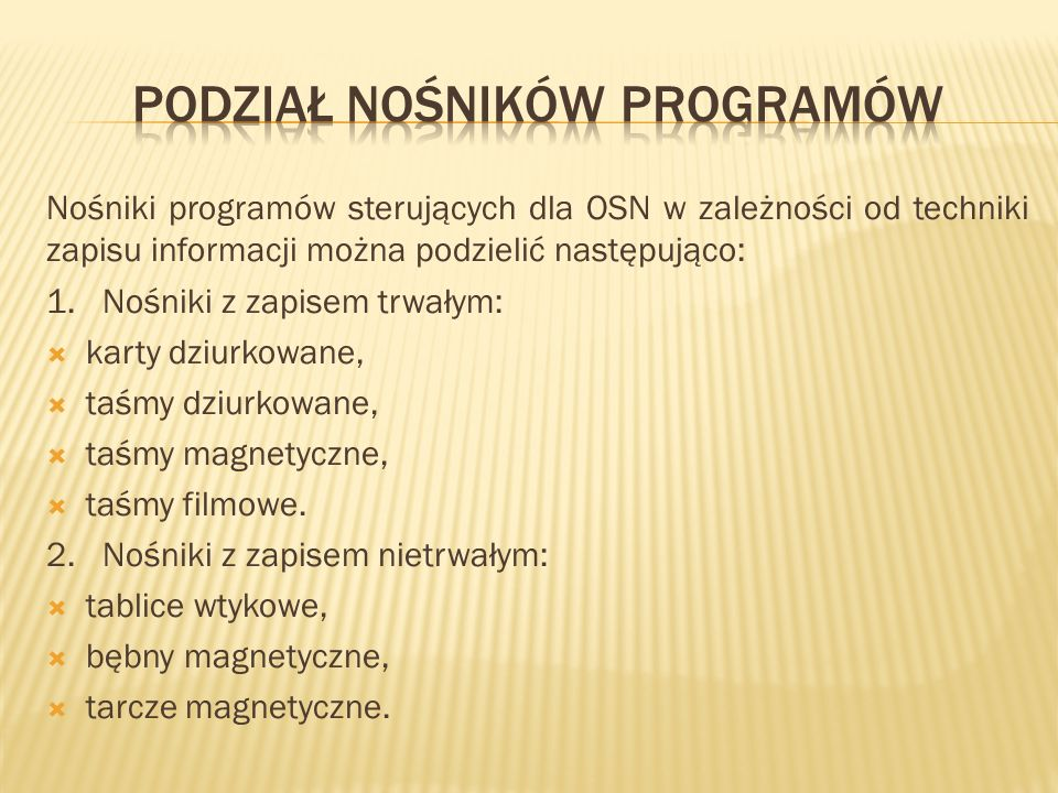 Podział nośników programów