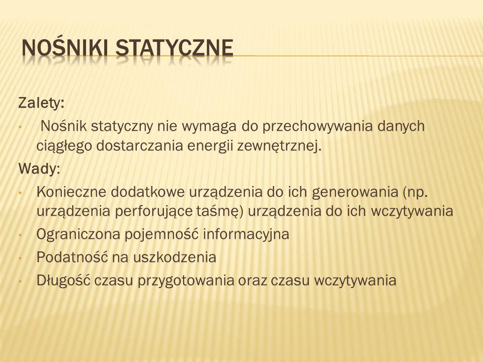 Nośniki Statyczne Zalety: