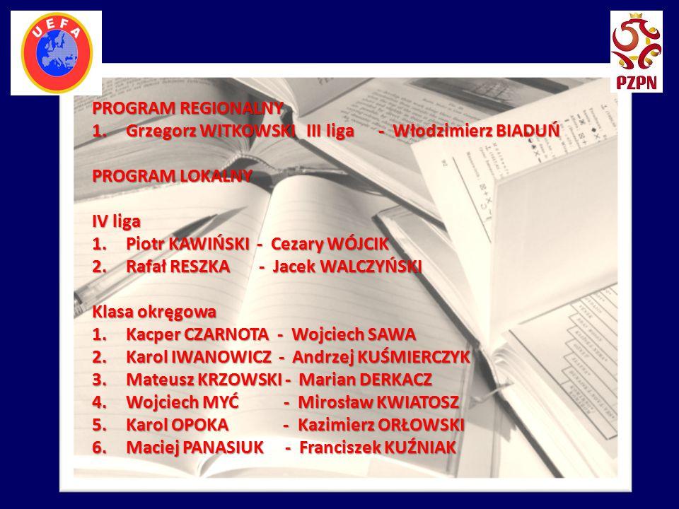 PROGRAM REGIONALNY Grzegorz WITKOWSKI III liga - Włodzimierz BIADUŃ. PROGRAM LOKALNY. IV liga.
