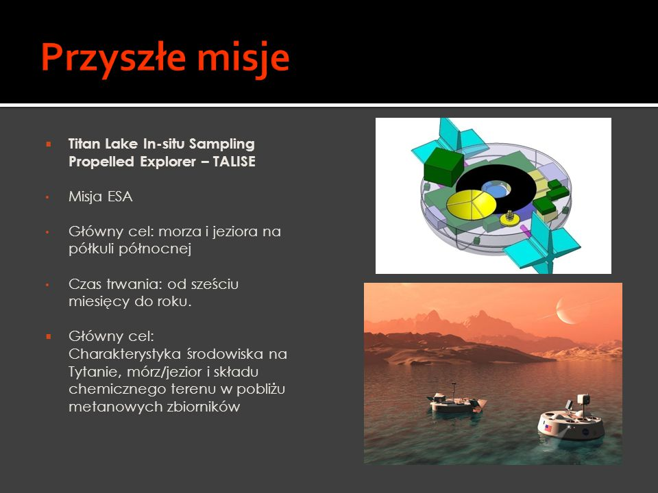 Przyszłe misje Titan Lake In-situ Sampling Propelled Explorer – TALISE