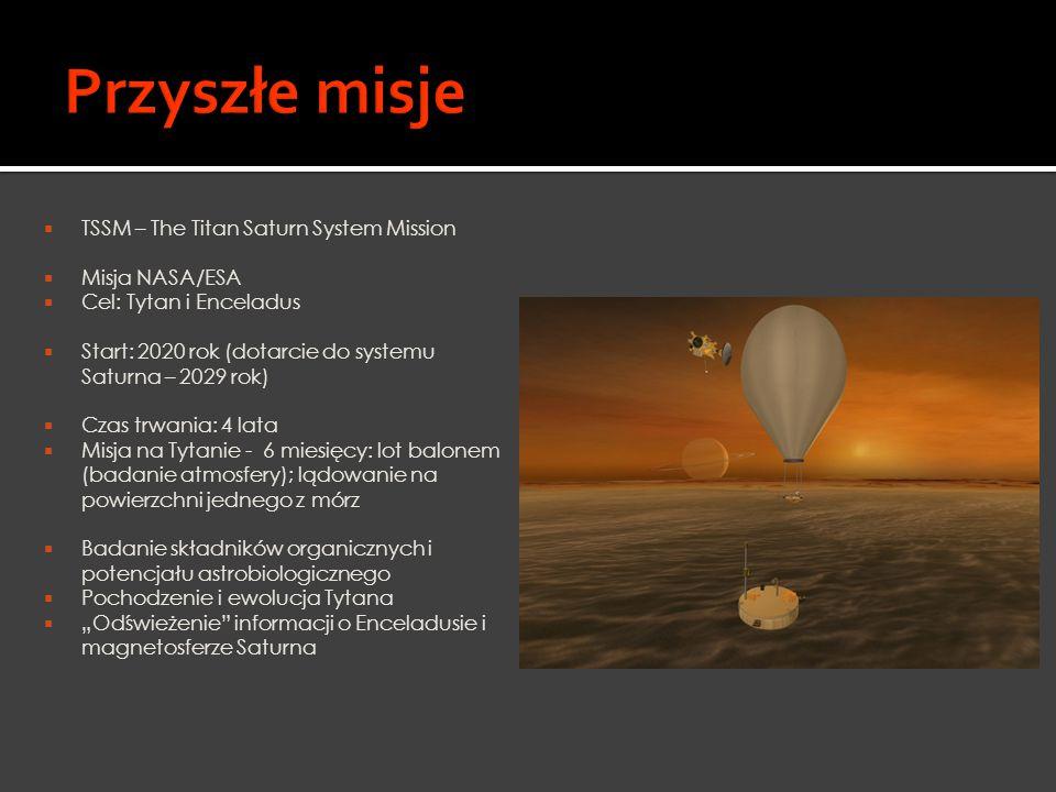 Przyszłe misje TSSM – The Titan Saturn System Mission Misja NASA/ESA