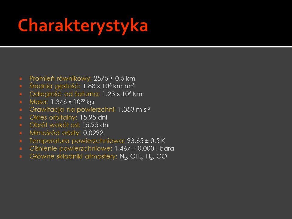 Charakterystyka Promień równikowy: 2575 ± 0.5 km