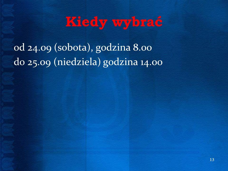 Kiedy wybrać od 24.09 (sobota), godzina 8.00 do 25.09 (niedziela) godzina 14.00