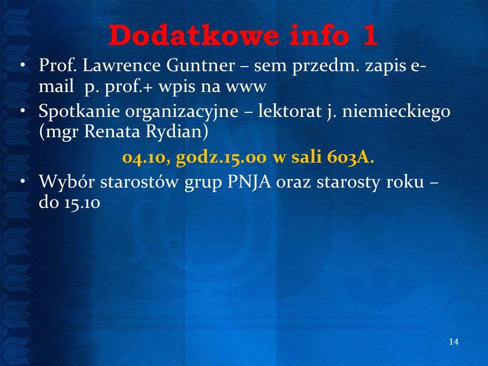 Dodatkowe info 1 Prof. Lawrence Guntner – sem przedm. zapis e-mail p. prof.+ wpis na www.