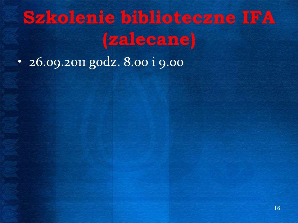 Szkolenie biblioteczne IFA (zalecane)