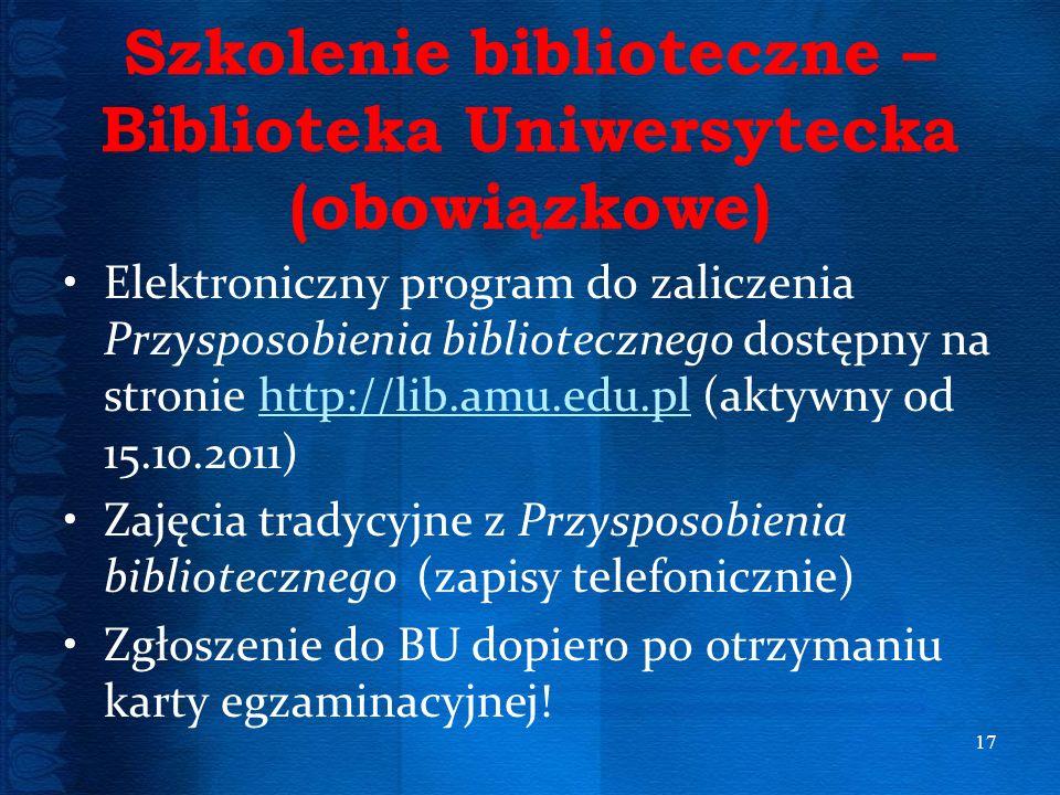 Szkolenie biblioteczne – Biblioteka Uniwersytecka (obowiązkowe)