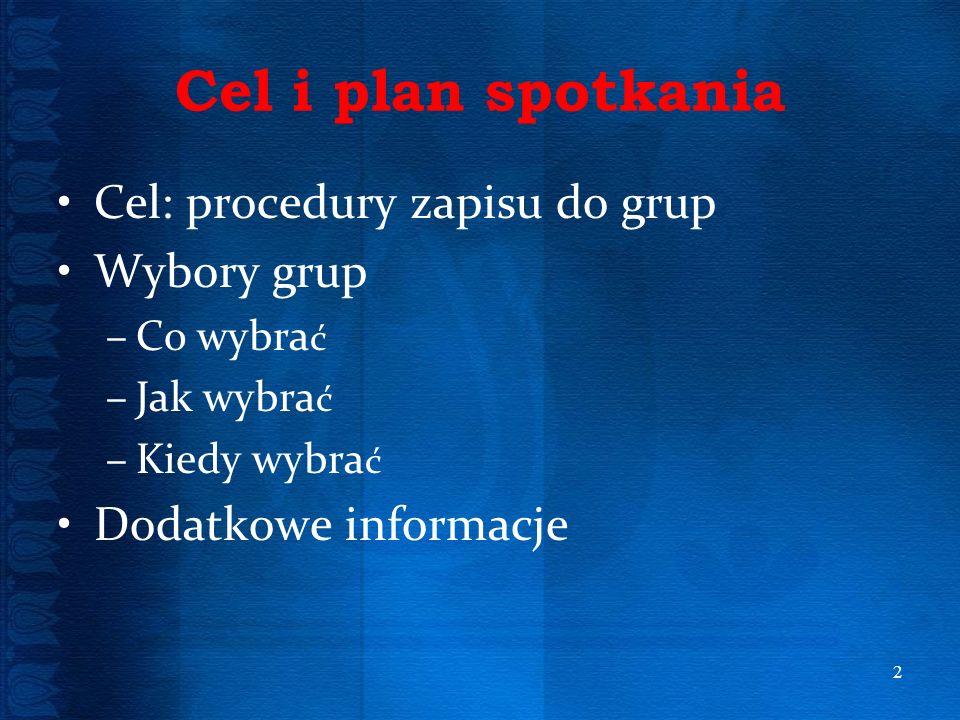 Cel i plan spotkania Cel: procedury zapisu do grup Wybory grup