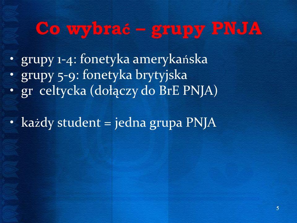 Co wybrać – grupy PNJA grupy 1-4: fonetyka amerykańska