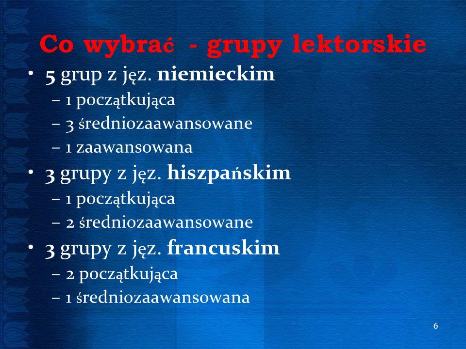 Co wybrać - grupy lektorskie