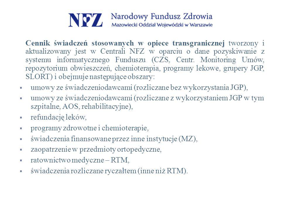 Cennik świadczeń stosowanych w opiece transgranicznej tworzony i aktualizowany jest w Centrali NFZ w oparciu o dane pozyskiwanie z systemu informatycznego Funduszu (CZS, Centr. Monitoring Umów, repozytorium obwieszczeń, chemioterapia, programy lekowe, grupery JGP, SLORT) i obejmuje następujące obszary: