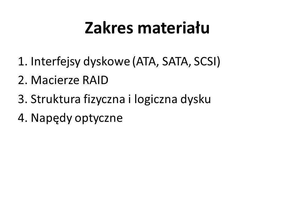 Zakres materiału 1. Interfejsy dyskowe (ATA, SATA, SCSI) 2.