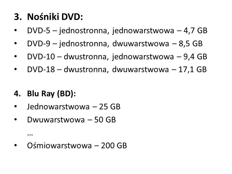Nośniki DVD: DVD-5 – jednostronna, jednowarstwowa – 4,7 GB