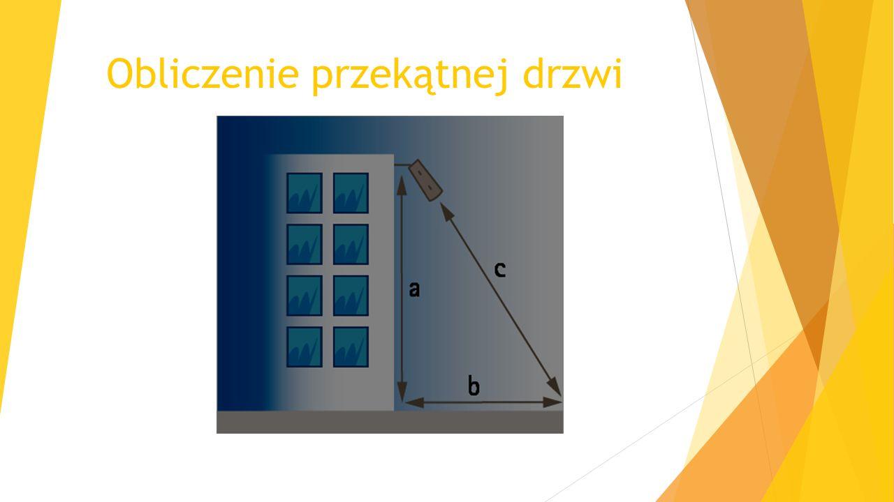 Obliczenie przekątnej drzwi