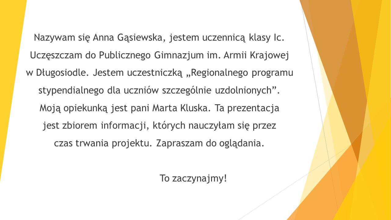 Nazywam się Anna Gąsiewska, jestem uczennicą klasy Ic