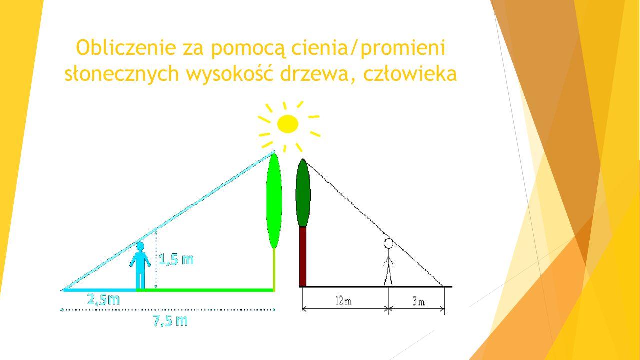 Obliczenie za pomocą cienia/promieni słonecznych wysokość drzewa, człowieka