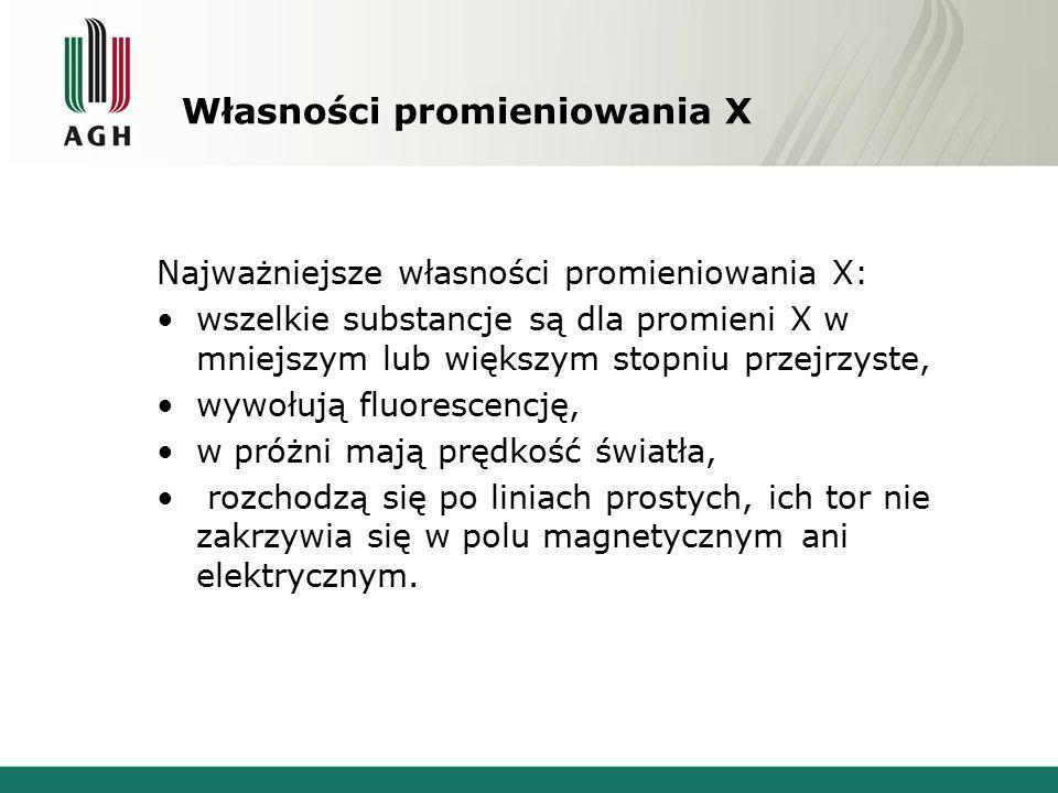 Własności promieniowania X