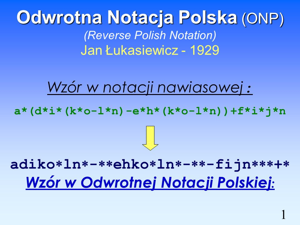Odwrotna Notacja Polska (ONP) (Reverse Polish Notation) Jan Łukasiewicz - 1929