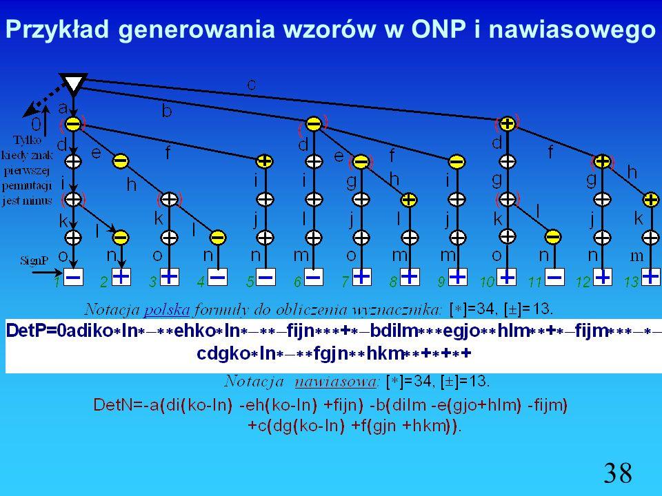 Przykład generowania wzorów w ONP i nawiasowego