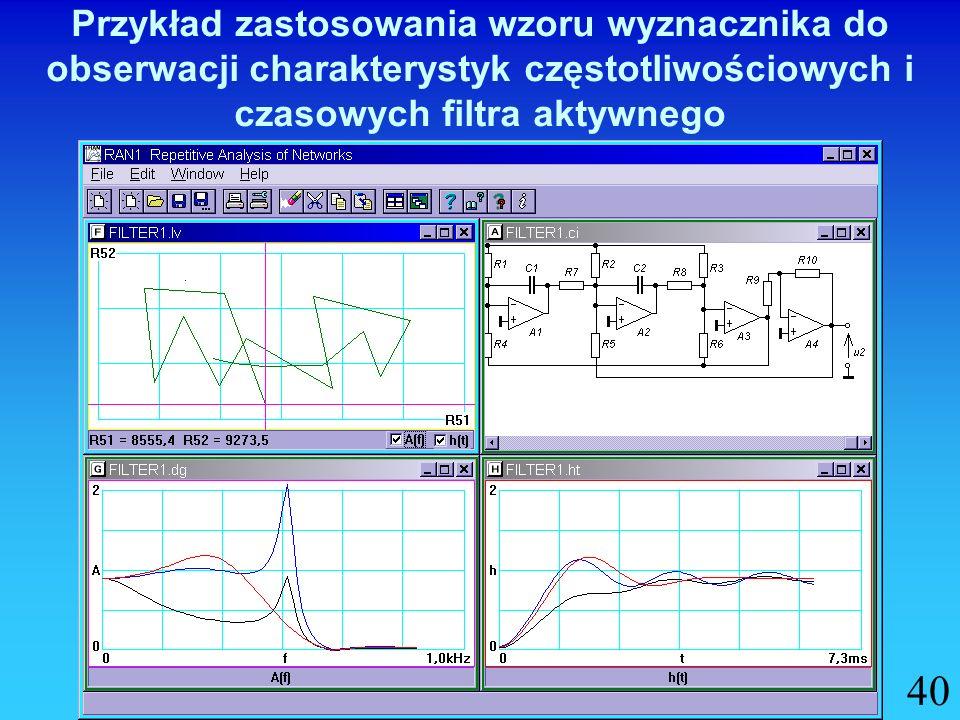 Przykład zastosowania wzoru wyznacznika do obserwacji charakterystyk częstotliwościowych i czasowych filtra aktywnego