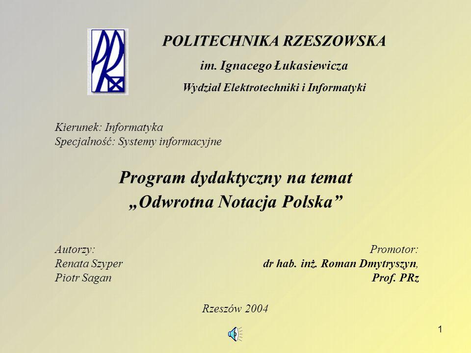 """Program dydaktyczny na temat """"Odwrotna Notacja Polska"""